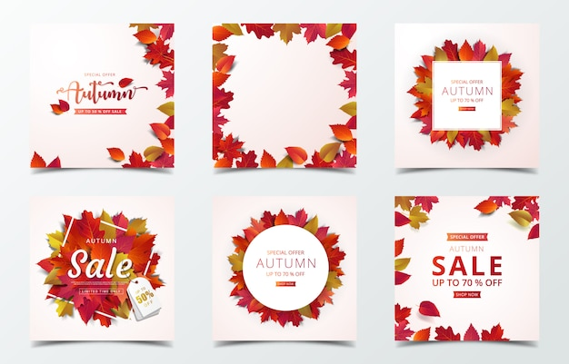 Autumn banner design template