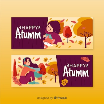 Autumn banner hand drawn style