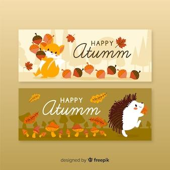 秋のバナー手描きスタイル