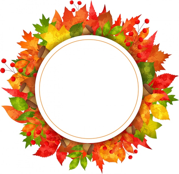 Autumn banner leaves with round paper