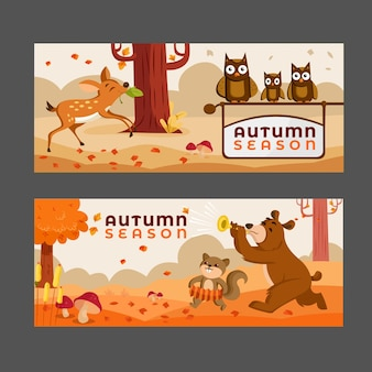 가을 배너 세트 곰 순록 여우 갈색 잎
