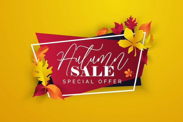 Autumn banner  for social media stories colorful banners with autumn fallen lea