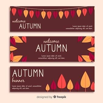 Autumn banner template flat design