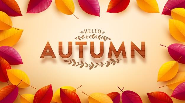 Шаблон осеннего баннера с деревянным текстурированным шрифтом и осенними разноцветными листьями на желтом