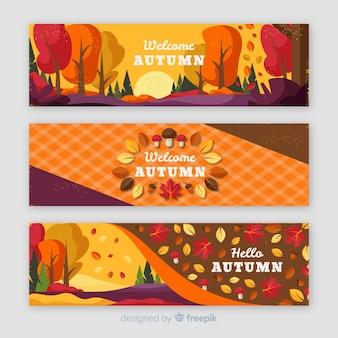 Autumn banner vintage design pack