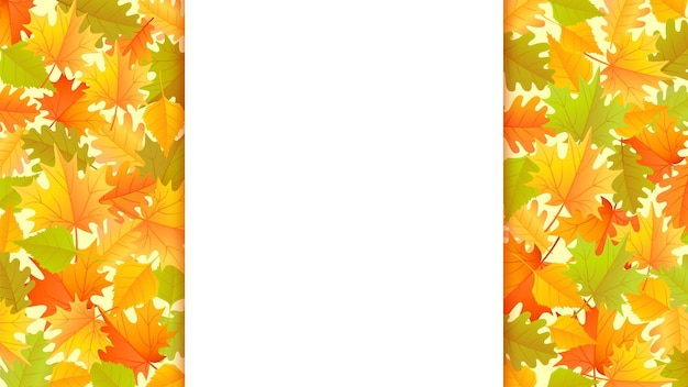 Autumn banner with colorful autumn leaves background with copyspace on the center