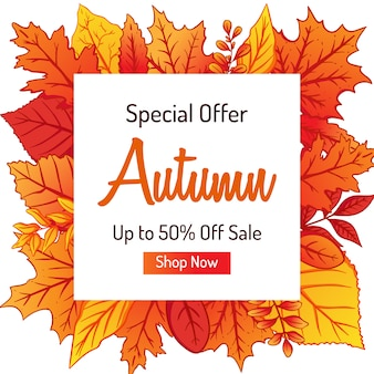 Autumn banner with colorful leaves for shopping sale or promo design
