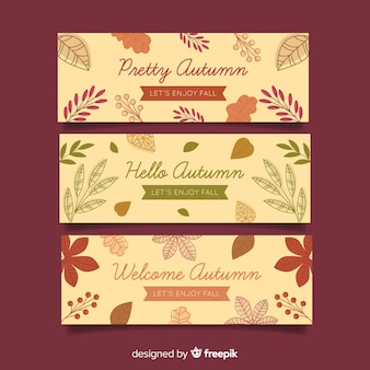 Autumn banners collection flat style