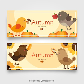 Autumn banners in flat style