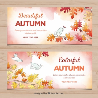 Autumn banners in watercolor style