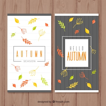 Autumn banners set vertical with colorful leaves