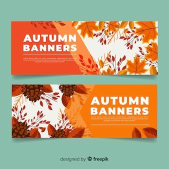 秋のバナーテンプレート手描きデザイン