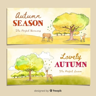 Autumn banners template watercolor design