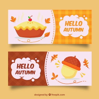 Autumn banners with acorn and pie