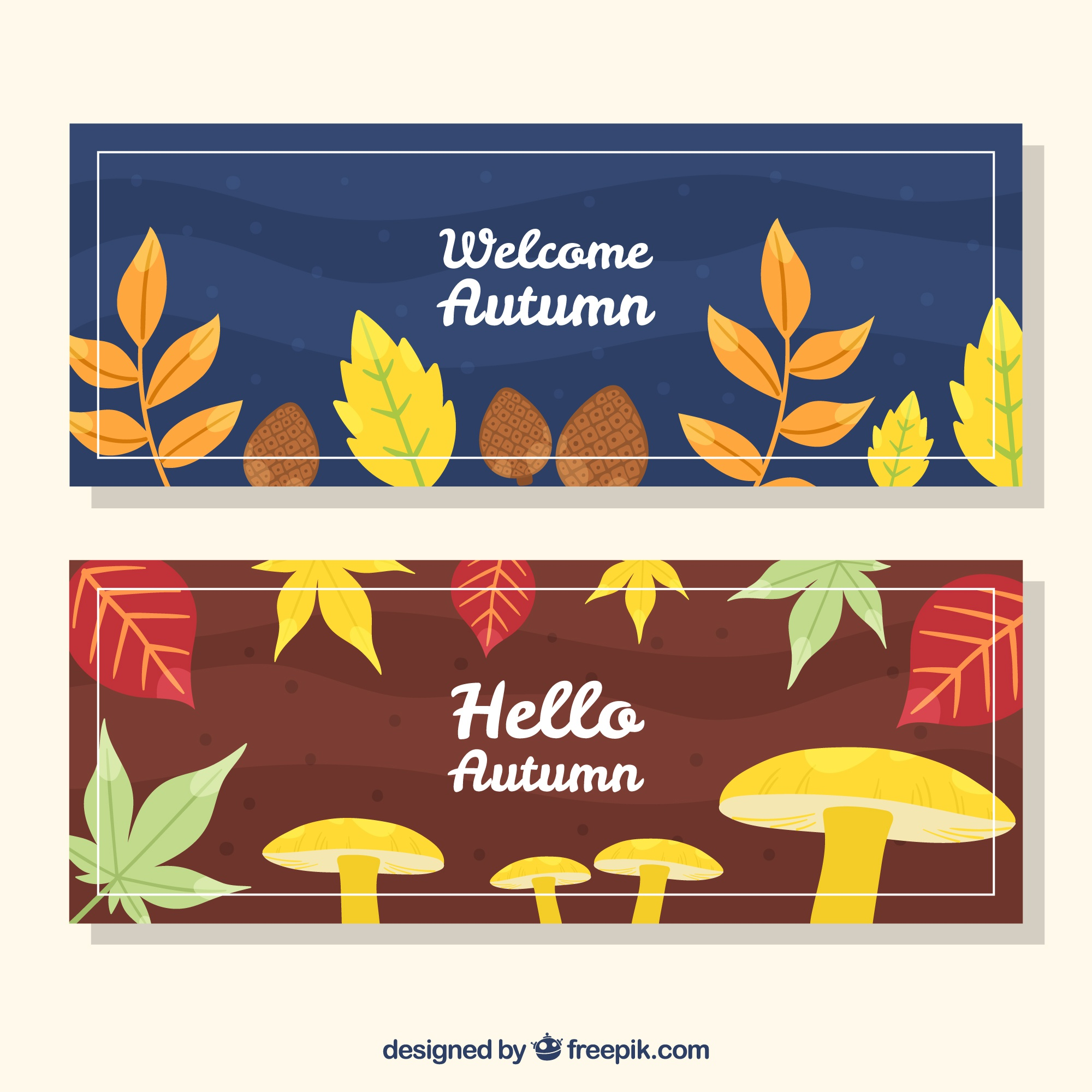 Autumn banners with colorful leaves and mushrooms