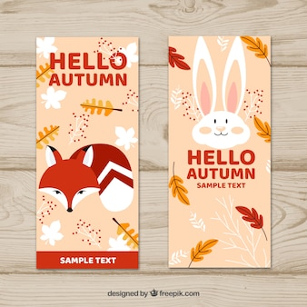 Autumn banners with cute animals