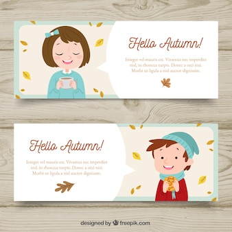 Autumn banners with cute kids