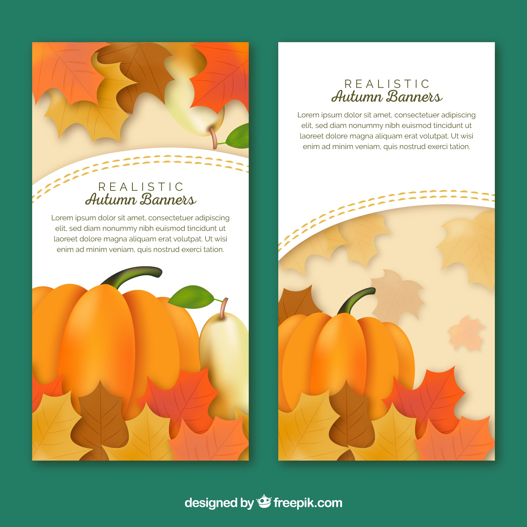Autumn banners with leaves and pumpkins