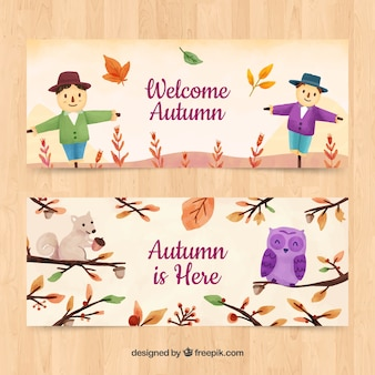 Autumn banners with scarecrows