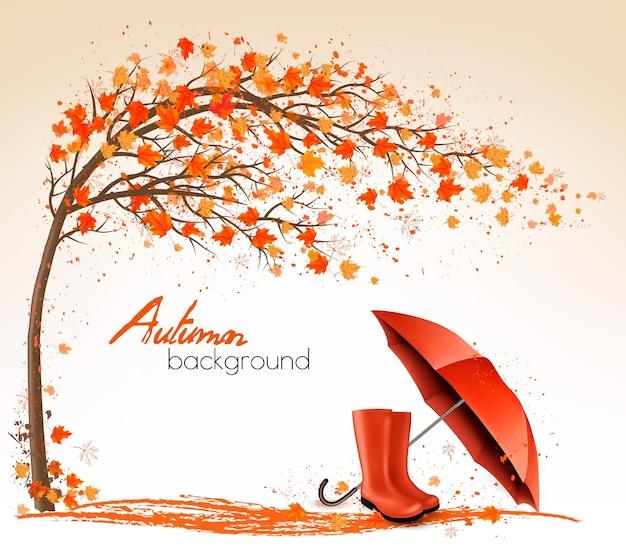 Осенние баннеры с деревьями, зонтиком и дождевыми сапогами. вектор.