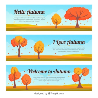 Autumn banners with trees