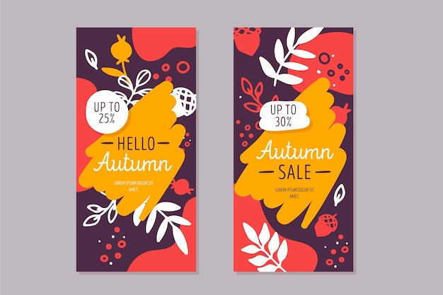 Autumn banners with vegetation