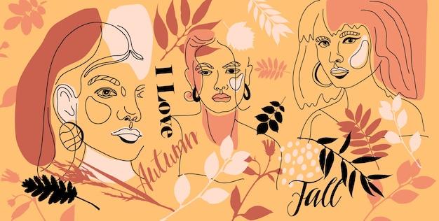 女性が最小限のラインスタイルに直面している秋のバナー。モダンでトレンディなスタイルの幾何学的形状の抽象的な現代的なカラーコラージュ。