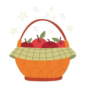 Осенняя корзина с большими яблоками. концепция урожая. органические продукты.