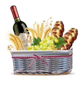 Autumn basket with bread and wine