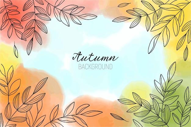 葉と秋の美しい水彩画の背景