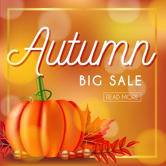 Autumn big sale banner with pumpkin and leaves
