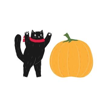 스카프와 함께 가을 검은 할로윈 고양이 호박 10 월 새끼 고양이 주식 벡터 평면 만화와 함께 재생