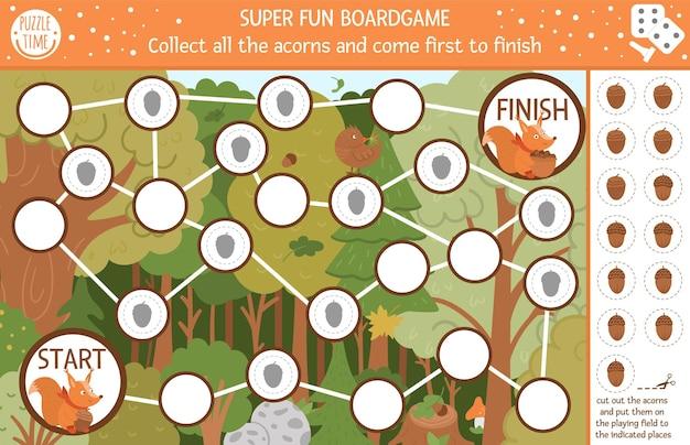 かわいい森の動物を持つ子供のための秋のボードゲームとカットアンドグルー。面白いリスとの教育ボードゲーム。すべてのどんぐりを集めて、最初に終わりに来てください。秋のシーズンの印刷可能なワークシート。