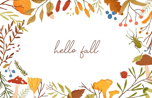 Autumn botanical banner flat template. leaves and branches composition.
