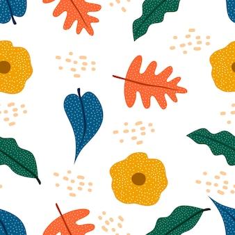 Autumn botanical drawing seamless pattern scandinavian style