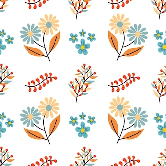Autumn bouquet flowers vector seamless pattern background