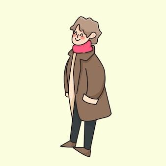 Иллюстрация милого шаржа мальчика осени