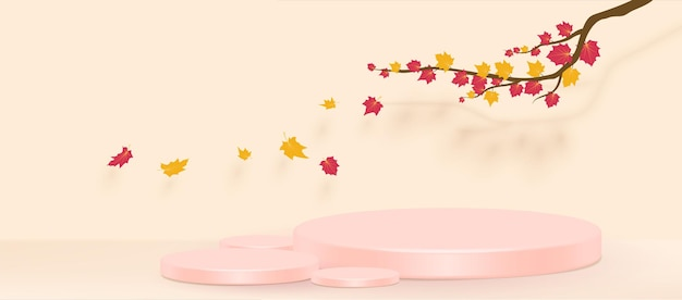 Autumn branch with falling leaves. vector illustration.