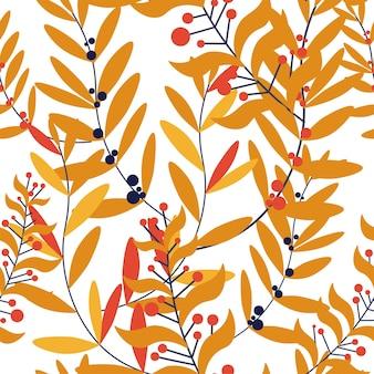 Осенние ветви листья и веточки бесшовный фон
