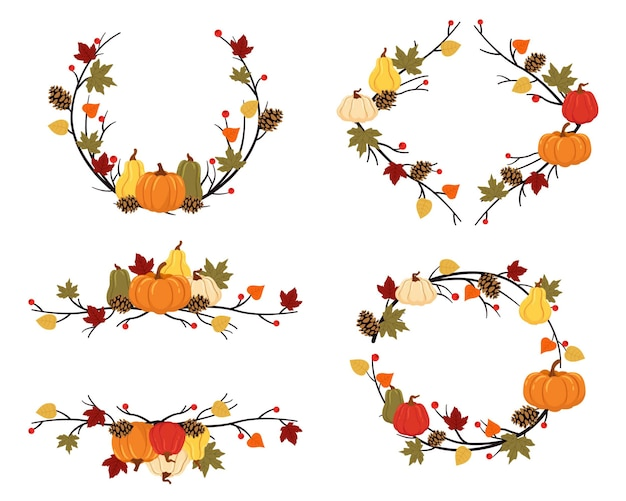 Autumn branches with pumpkins, autumn pineapples and decoration