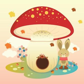 Autumn bunny house