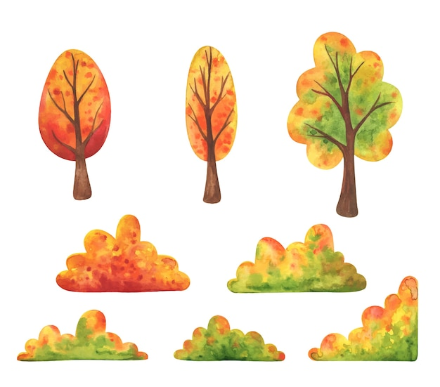 가을 숲과 나무. 황변, 떨어지는 식물 장식 세트