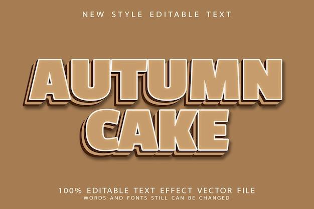 Осенний торт с редактируемым текстовым эффектом с тиснением в современном стиле
