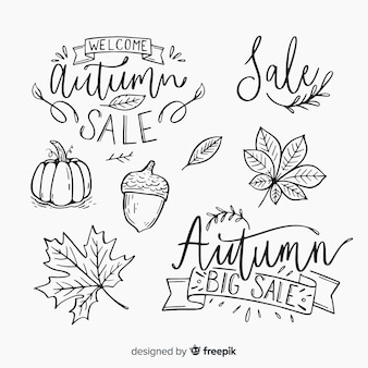 Autumn calligraphic set handwritten