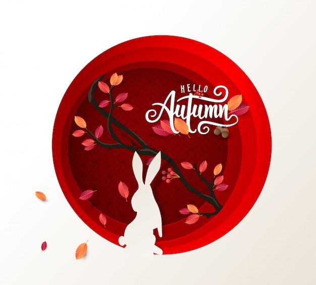 秋の書道の背景レイアウトを葉で飾る
