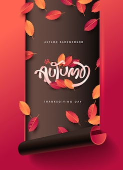 Autumn calligraphy. seasonal lettering background