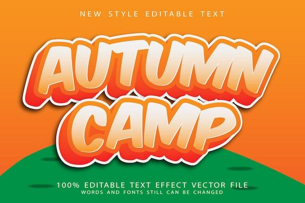 Autumn camp editable text effect emboss cartoon style