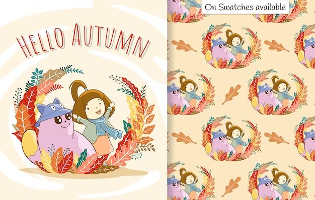 가을 카드와 잎 주위에 그녀의 친구와 함께 귀여운 행복 소녀의 그려진 손으로 원활한 패턴