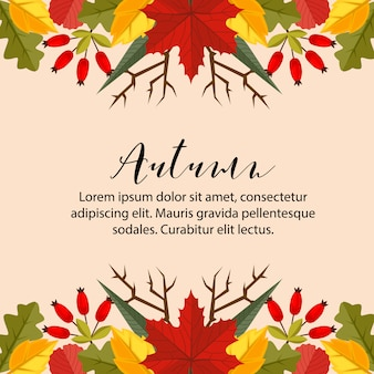 Autumn card border horizontal nature leaves flat style background