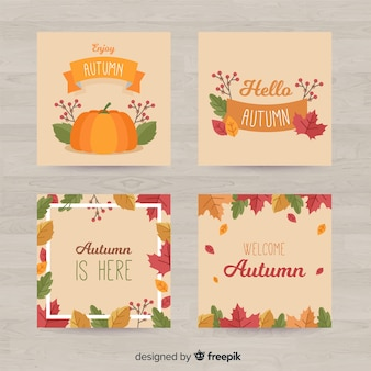 Autumn card collection flat design